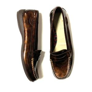 Sperry Top Sider penny loafers flats copper croc